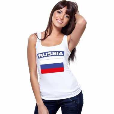 Singlet shirt/ tanktop russische vlag wit dames