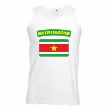 Singlet shirt/ tanktop surinaamse vlag wit heren