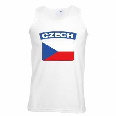 Singlet shirt/ tanktop tsjechische vlag wit heren