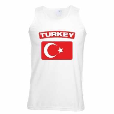 Singlet shirt/ tanktop turkse vlag wit heren