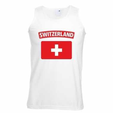 Singlet shirt/ tanktop zwitserse vlag wit heren