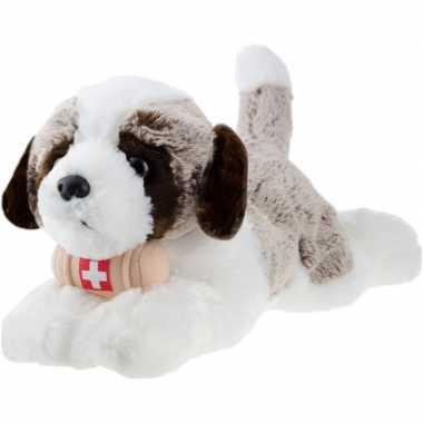 Sint bernard honden speelgoed artikelen hond knuffelbeest bruin 32 cm