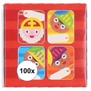 Sint kado stickers cartoon 100 stuks