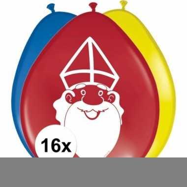 Sinterklaas - 16x sinterklaas ballonnen 27 cm