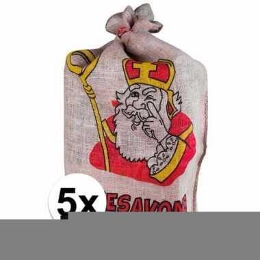 Sinterklaas - 5 jute zakken van sinterklaas 60 x 102 cm