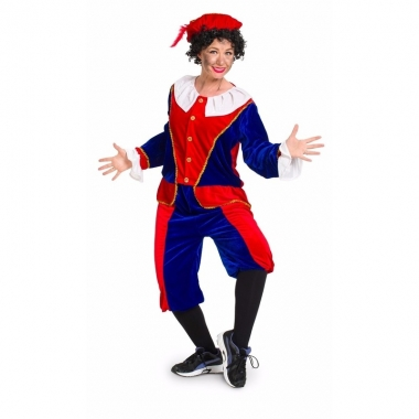 Sinterklaas - dames pietenpak rood/blauw medium
