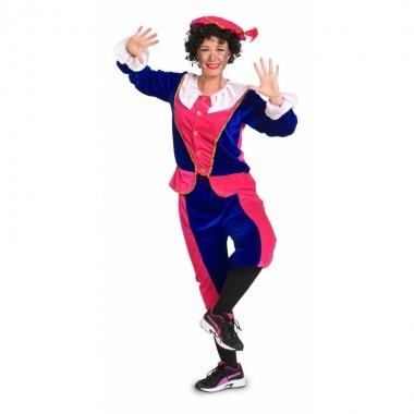 Sinterklaas - dames pietenpak roze/blauw small