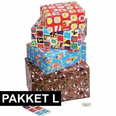 Sinterklaas - sint cadeaupapier pakket l met etiketten