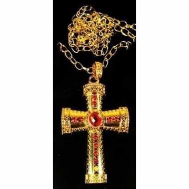 Sinterklaas verkleed ketting goud/rood kruis voor heren