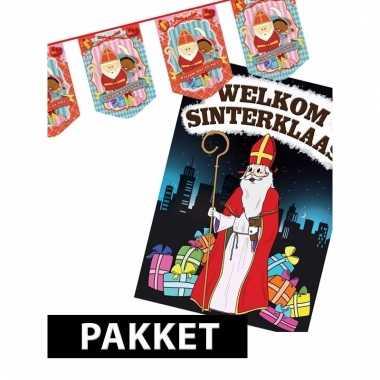 Sinterklaas - vlaggenlijn sint en piet met deurposter a1