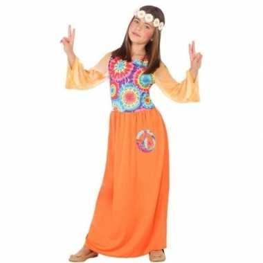 Sixties/hippie verkleed jurk oranje voor meisjes