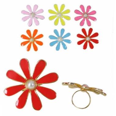 Sixties verkleedaccessoires ring met bloem
