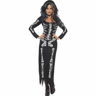 Skeletten jurk zwart voor dames