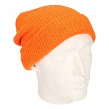 Skimuts lange beanie oranje voor heren