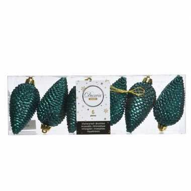 Smaragd groene kerstversiering dennenappelset kunststof 8 cm