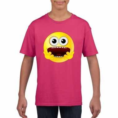 Smiley t-shirt geschrokken roze kinderen trend