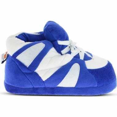 Sneakers sloffen/pantoffels blauw/wit voor dames
