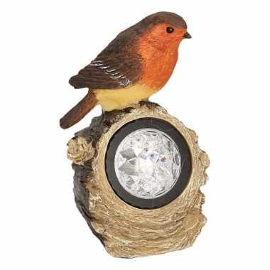 Solar lamp vogel tuin deco beeldje roodborstje met led 17 cm