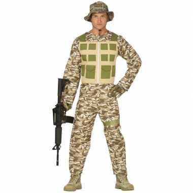 Soldaat verkleed pak/kostuum camouflage/woestijn voor heren