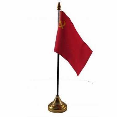 Sovjet unie tafelvlaggetje 10 x 15 cm met standaard trend