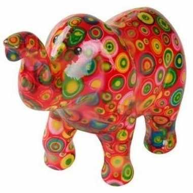 Spaarpot olifant rood met cirkels 20 cm