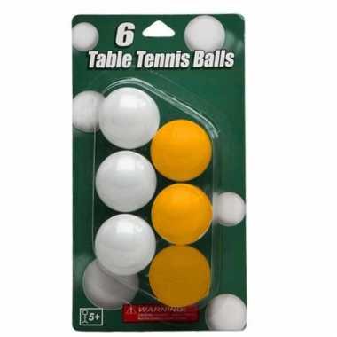 Speelgoed tafeltennis balletjes wit en geel 6 stuks