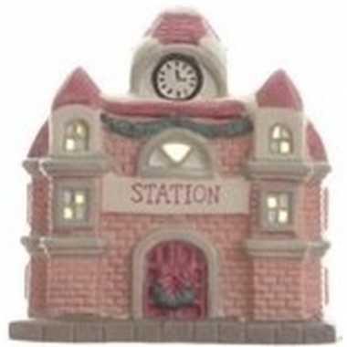 Station kerstdorp huisje 11 cm met led verlichting