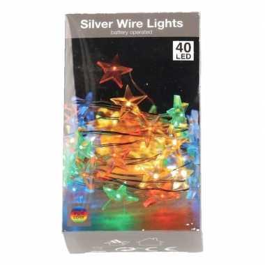 Sterren verlichting zilverdraad op batterij gekleurd 40 lampjes