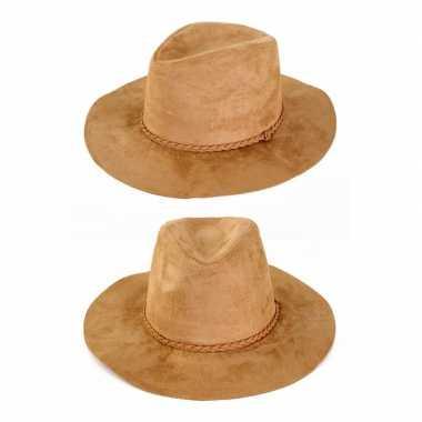 Suede cowboyhoed beige voor volwassenen trend