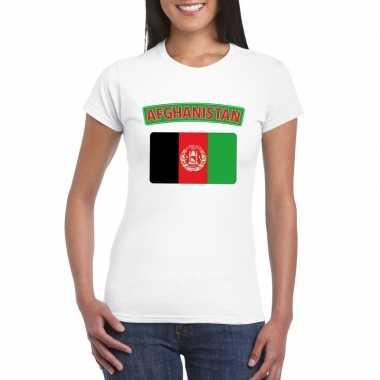 T-shirt met afghaanse vlag wit dames