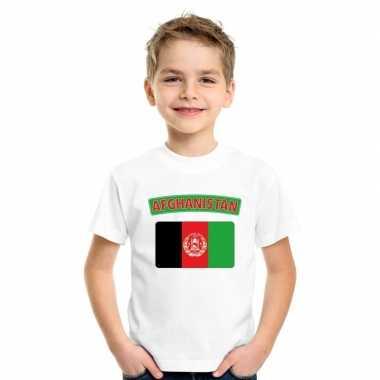 T-shirt met afghaanse vlag wit kinderen