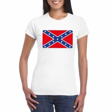 T-shirt met amerikaanse zuidelijke staten vlag wit dames