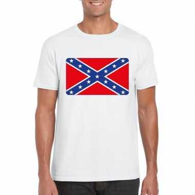 T-shirt met amerikaanse zuidelijke staten vlag wit heren