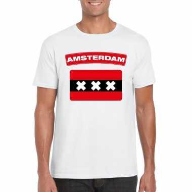 T-shirt met amsterdamse vlag wit heren