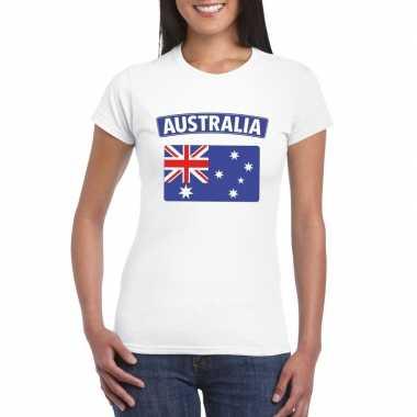 T-shirt met australische vlag wit dames