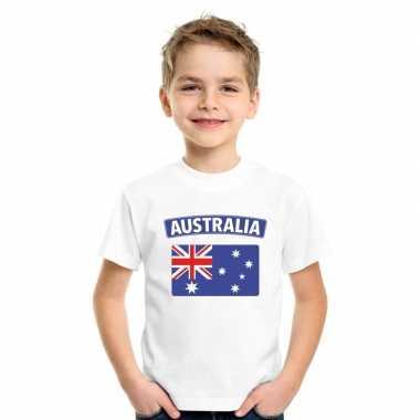T-shirt met australische vlag wit kinderen