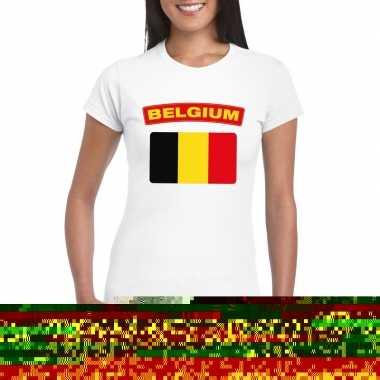 T-shirt met belgische vlag wit dames