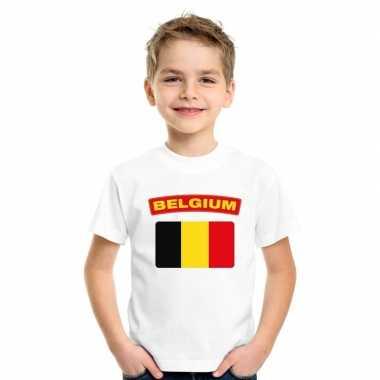 T-shirt met belgische vlag wit kinderen