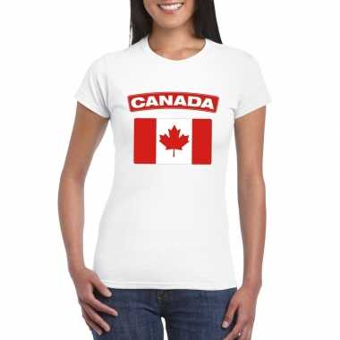 T-shirt met canadese vlag wit dames