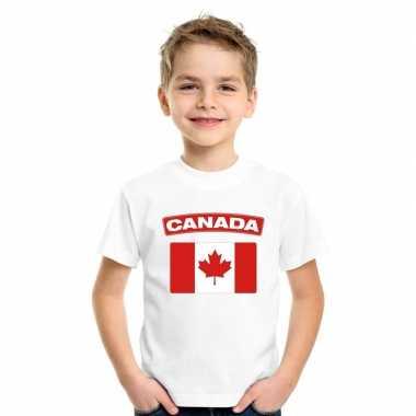 T-shirt met canadese vlag wit kinderen