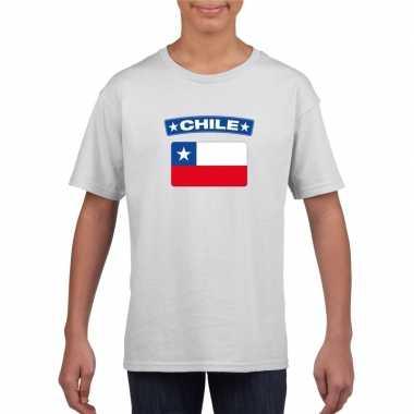 T-shirt met chileense vlag wit kinderen