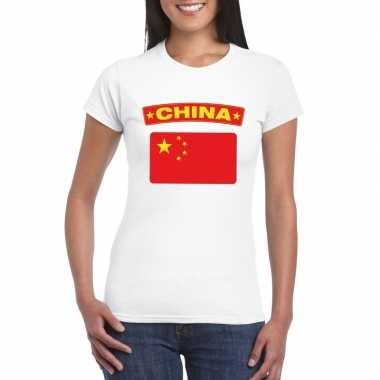 T-shirt met chinese vlag wit dames