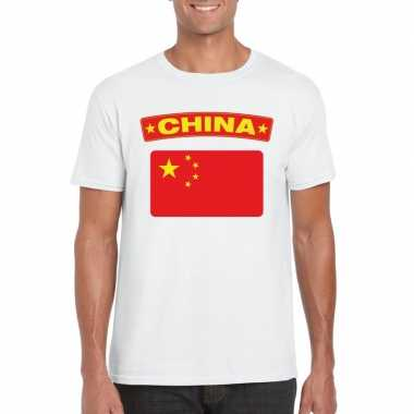 T-shirt met chinese vlag wit heren