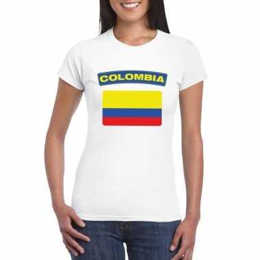 T-shirt met colombiaanse vlag wit dames