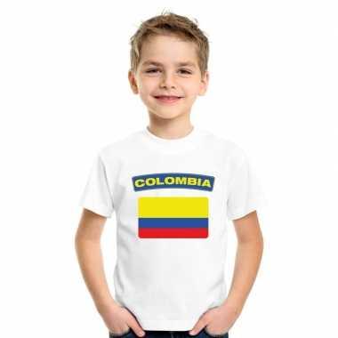 T-shirt met colombiaanse vlag wit kinderen