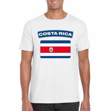 T-shirt met costa ricaanse vlag wit heren
