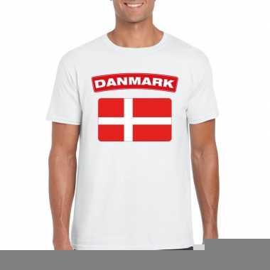 T-shirt met deense vlag wit heren