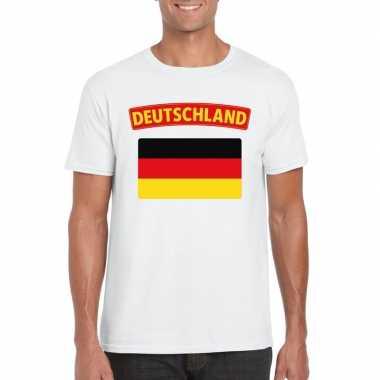 T-shirt met duitse vlag wit heren