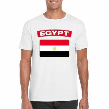 T-shirt met egyptische vlag wit heren