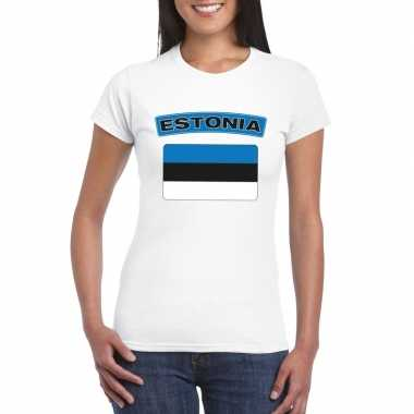 T-shirt met estlandse vlag wit dames